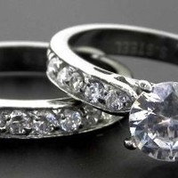1.50 Ct Clear Round Cz Stainless Steel Engagement, Wedding Ring Set, Size 5,6,7,8,9