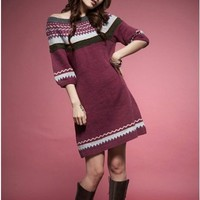 Wine Red Knitting Wool Blend Middle Sleeve Women Long One Size Sweater @H4443wr