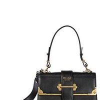 Prada women's leather handbag shopping bag purse black
