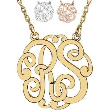 Personalized 25mm Two Letter Script Monogram Necklace