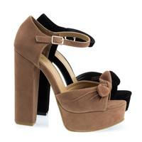 Tournament6 Camel Beige Retro Open Toe Chunky Block Heel Sandal On Platform & Ankle Strap
