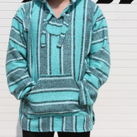 X-Large Baja Hoodie, Authentic Hand Woven Mexican Baja Hoodies Sweater, Bohemian Gypsy Beach Sweater Drug Rug, Teal