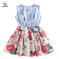 Dress Summer Girl Dress Sleeveless Dresses Deim Dresses Kids Party Pricess