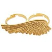 Gold Angel Wing Double Ring