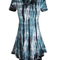 LL Womens Short Sleeve All Over Tie-Dye Ombre Tunic Shirt