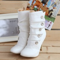 high heel PU Mid Calf boots *free shippping*
