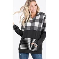 Plaid Pullover with Front Zipper and Stripe Details