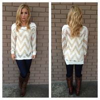 Winter White Zig & Gold Chained Sweater