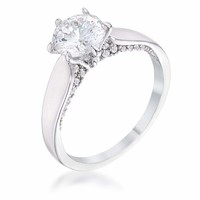 1.56Ct Contemporary Rhodium Plated CZ Solitaire Ring JGI