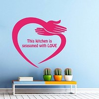 Wall Decals Quote This Kitchen Is Seasoned with Love Hearted Armes Cooking Chef Vinyl Decal Sticker Kitchen Cafe Decor Home Interior Design Art Mural
