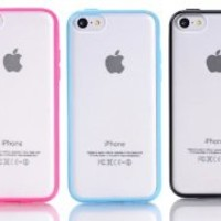 iPhone 5C Case,OMIU(TM) 3-Pieces(Black/Hot Pink/Light Blue)Ultra Slim Snap-On Clear Back Skin Case Cover Fit for Apple iPhone 5C