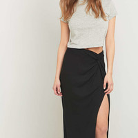 Light Before Dark Twist Black Midi Skirt - Urban Outfitters