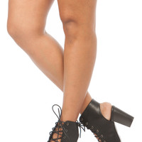 Black Faux Leather Lace Up Peep Toe Chunky Booties