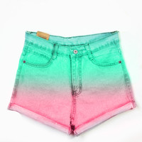 High Waist Denim Teal Pink dyed shorts