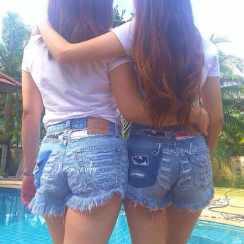 Levis High waisted denim shorts USA american flag Red White and Blue Stars and Stripes Distressed destroyed ripped Custom Made To Order