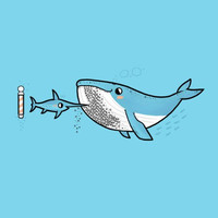 'Barnacle Beard' Funny Humpback Whale & Marlin Sword Fish Underwater Barber Cartoon - Vinyl Sticker