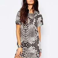 Noisy May Large Snake Print Dress With Sport Collar