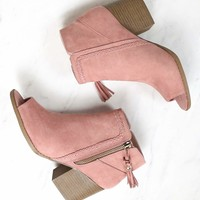 Vegan Suede Tassel Block Heeled Ankle Boots in Mauve