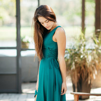 Lace Me Up Dress - Teal