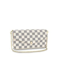 DCCK Luxury Designer Womens Small Chain Crossbody Bag Monogram Canvas Flap Purse (White)