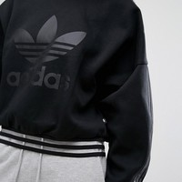 adidas Paris Black Sweatshirt With Sheer Panels at asos.com