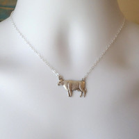 Silver Cow Necklace - Cow or Steer Pendant Necklace - Silver Plated and Sterling Silver Necklace - Animal Jewelry - Valentines Day