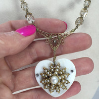 Mother-of-Pearl Heart Pendant Assemblage Necklace Antique Victorian Filigree Pearls Faceted Glass Beads Reclaimed Vintage Jewelry