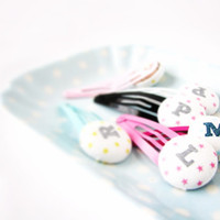 Personalized Hair Clips, Girls Hair Accessory, Custom Initial Accessory, Monogram Girls Hair Clips