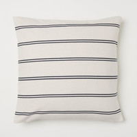 Cotton Cushion Cover - Natural white/gray striped - Home All | H&M US