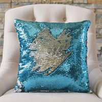 Lake Blue & Silver Sequin Mermaid Pillow Cover