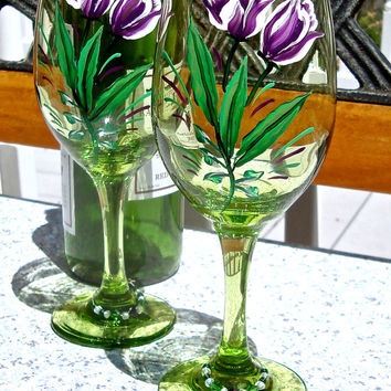 Hand Painted Green Wine Glasses With Purple Tulips and Free Wine Charms, Unique Gift Ideas
