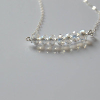 sterling silver crystal bar necklace, dainty crystals necklace, moonstone crystal necklace, swarovski crystal necklace, crystal necklace