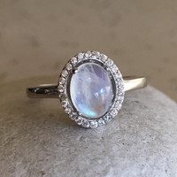 Oval Moonstone Promise Ring- Rings for Her- June Birthstone Ring- Gemstone Ring- Rainbow Moonstone Ring- Wedding Ring for her- Sterling Ring