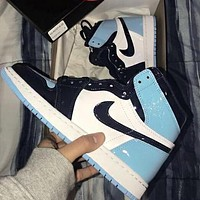 Air Jordan 1 Fashionable Women Men Sport Basketball Shoes Sneakers Black&White&Blue