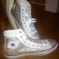 White High Top Sparkled Clear Rhinestones Chucks