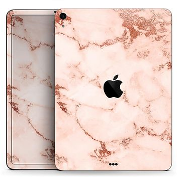 "Rose Pink Marble & Digital Gold Frosted Foil V6 - Full Body Skin Decal for the Apple iPad Pro 12.9"", 11"", 10.5"", 9.7"", Air or Mini (All Models Available)"