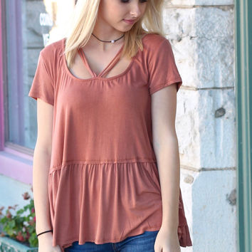 Cross Me Strappy Loose Fit Peplum Blouse {Rust}