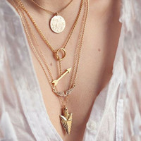 Overland  Arrows Wings &  Golden Disk Necklace