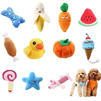 1pc Plush Dog Toys Squeaky Bone Ice Cream