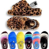 UGG hot sale new warm fluffy slippers ladies fashion fluffy leisure high-quality slippers shoes