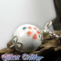 Porcelain Bead Necklace, Silver Plated, Pastel Painted Flowers