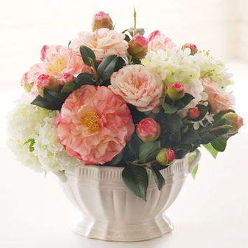 FAUX MIXED CAMELLIA AND SNOWBALL ARRANGEMENT