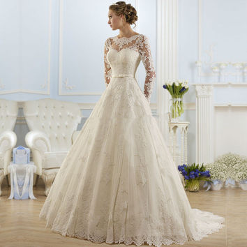 Ball Gown Bateau Appliqued Sexy Backless Lace Bridal Dresses vestido de noiva robe de mariage Cheap Long Sleeve Wedding Dress