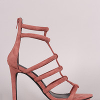 Privileged Suede Strappy Caged Stiletto Platform Heel
