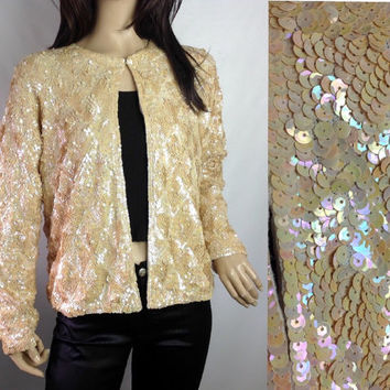 50s Sequin Cardigan Vintage Sequin Sweater Vintage Sweater Lined Evening  Sweater Rockabilly Sweater 41 in S M  L