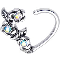 """3/8"""" Aurora Gem Bunch of Roses Right Daith Cartilage Tragus Earring"""
