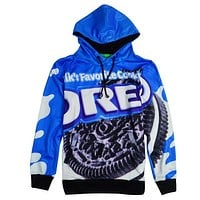Oreo Cookies All Over Print Oreo's Container Blue Hoodie