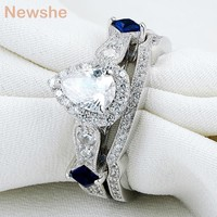 Newshe Pear Shape CZ Solid 925 Sterling Silver Wedding Ring Set Engagement Band Fashion Jewelry For Women Size 5 6 7 8 9 10