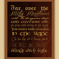 Misty Mountains Thorin's Song THE HOBBIT modern print poster 8x10