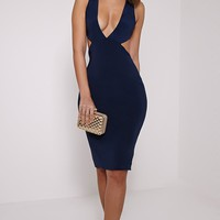 Biddy Navy Deep V Plunge Cross Back Midi - Dresses - PrettylittleThing | PrettyLittleThing.com